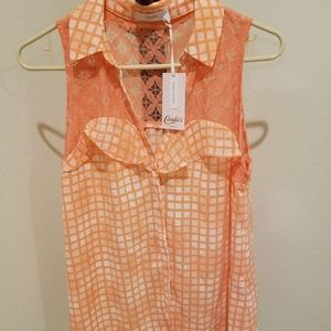 Candies Ruffle Yoke Orange Shirt, Size L